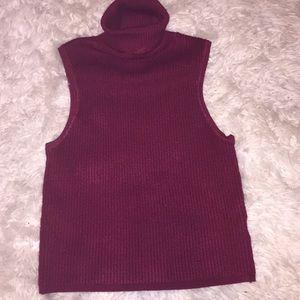 Maroon Turtle Neck Sweater Tank